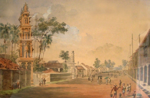 Sri Mariamman Temple, South Bridge Road from English School, mid-19th century. Artist unknown.
